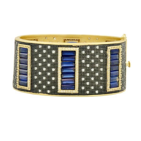 Freida Rothman Midnight Baguette Wide Hinge Bangle SVS Fine Jewelry Oceanside, NY
