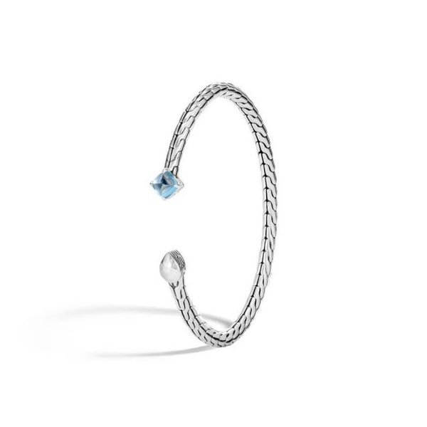 John Hardy Chain Collection Silver & Blue Topaz Cuff SVS Fine Jewelry Oceanside, NY