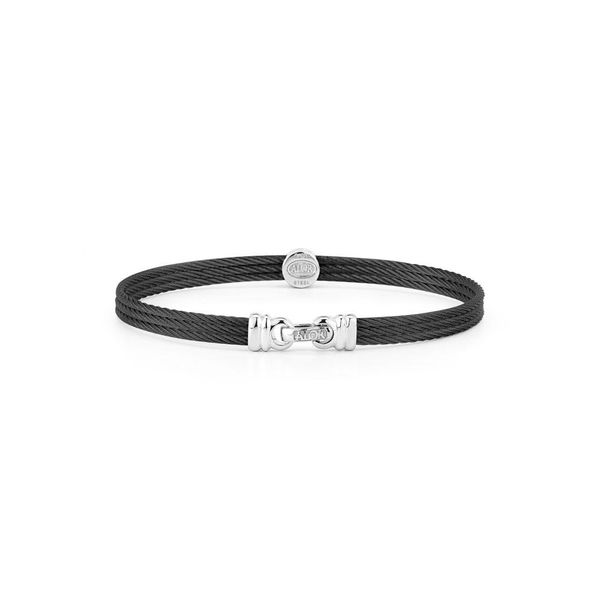 ALOR Noir Collection Black Cable Bangle, .05 cttw, Size 7 Image 2 SVS Fine Jewelry Oceanside, NY