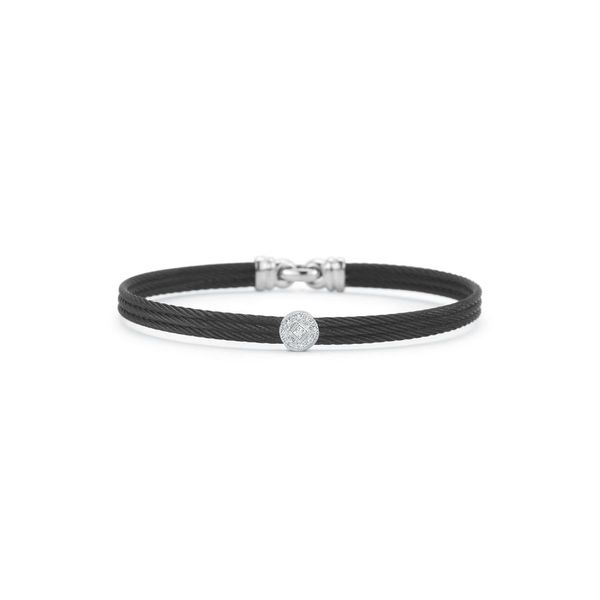 ALOR Noir Collection Black Cable Bangle, .05 cttw, Size 7 SVS Fine Jewelry Oceanside, NY