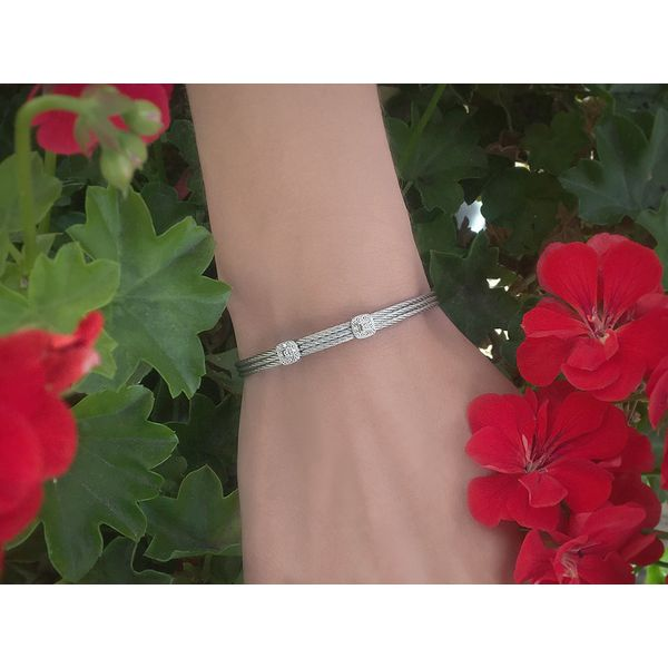 ALOR Classique Collection Grey Cable Bangle, 0.09cttw Image 3 SVS Fine Jewelry Oceanside, NY