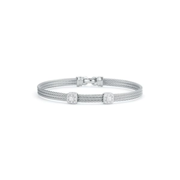 ALOR Classique Collection Grey Cable Bangle, 0.09cttw SVS Fine Jewelry Oceanside, NY