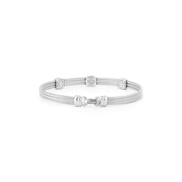 ALOR Classique Collection Three Station Diamond Bangle Image 2 SVS Fine Jewelry Oceanside, NY