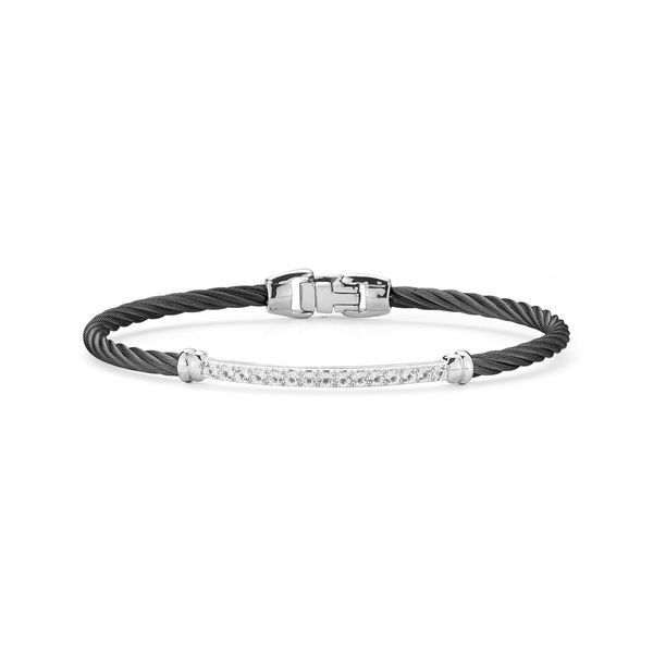 ALOR Black Cable And White Topaz Bangle, 1.41Cttw SVS Fine Jewelry Oceanside, NY