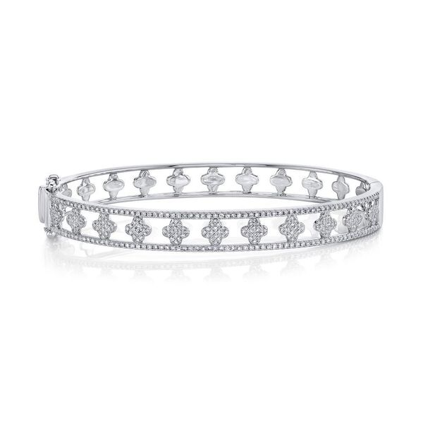 Shy Creation 14K White Gold And Diamond Clover Bangle SVS Fine Jewelry Oceanside, NY