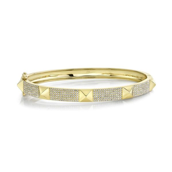 Shy Creation 14K Yellow Gold And Diamond Pave Bangle SVS Fine Jewelry Oceanside, NY