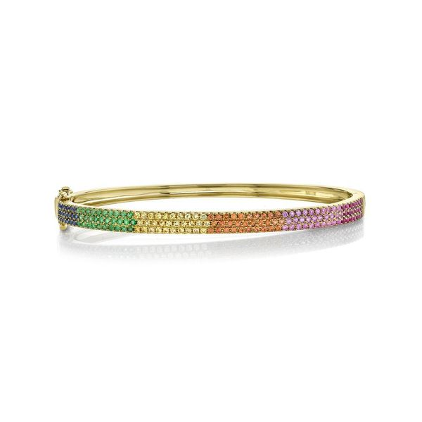 Shy Creation 14K Yellow Gold Multi-Color Stone Pave Bangle SVS Fine Jewelry Oceanside, NY