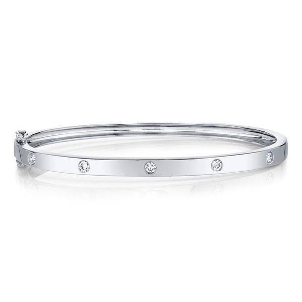 Shy Creation 14K White Gold Diamond Bangle, 0.38cttw SVS Fine Jewelry Oceanside, NY