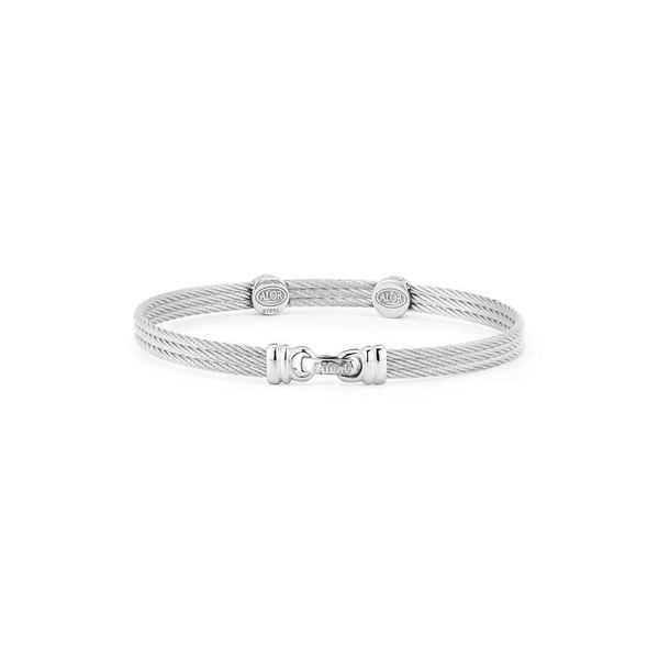 ALOR Classique Collection Grey Cable Bangle, 0.09cttw Image 2 SVS Fine Jewelry Oceanside, NY