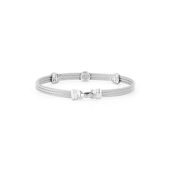 ALOR Classique Collection Grey Cable Bangle, 0.14cttw Image 2 SVS Fine Jewelry Oceanside, NY