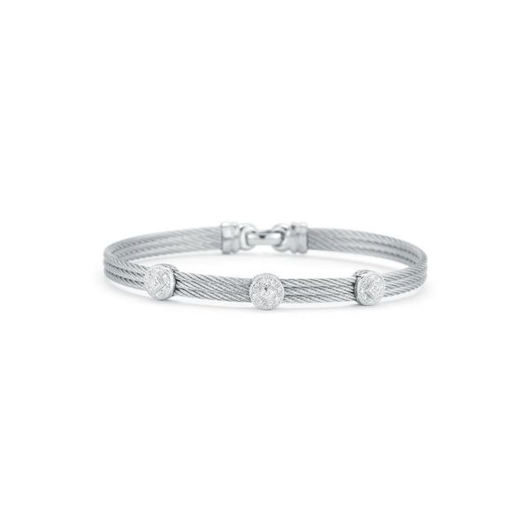 ALOR Classique Collection Grey Cable Bangle, 0.14cttw SVS Fine Jewelry Oceanside, NY