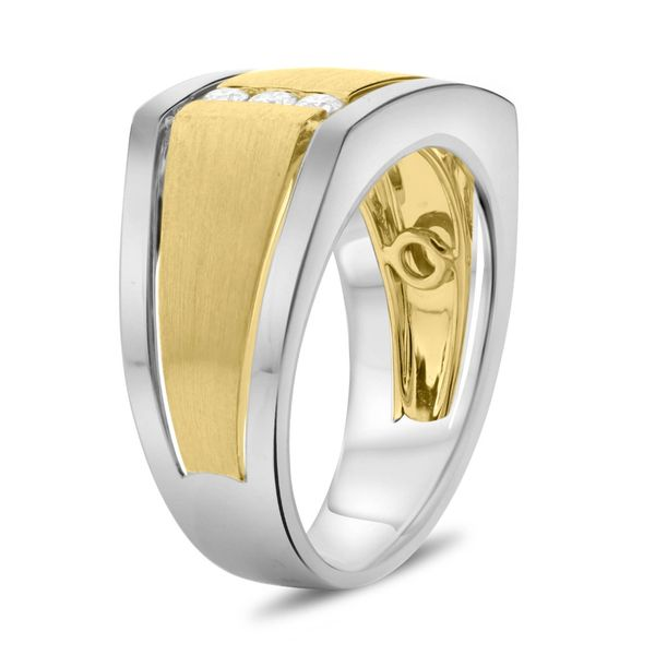 Men's White & Yellow Gold Diamond Band Image 3  ,