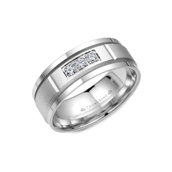 Crown Ring Men's 14K White Gold & Diamond Wedding Band SVS Fine Jewelry Oceanside, NY