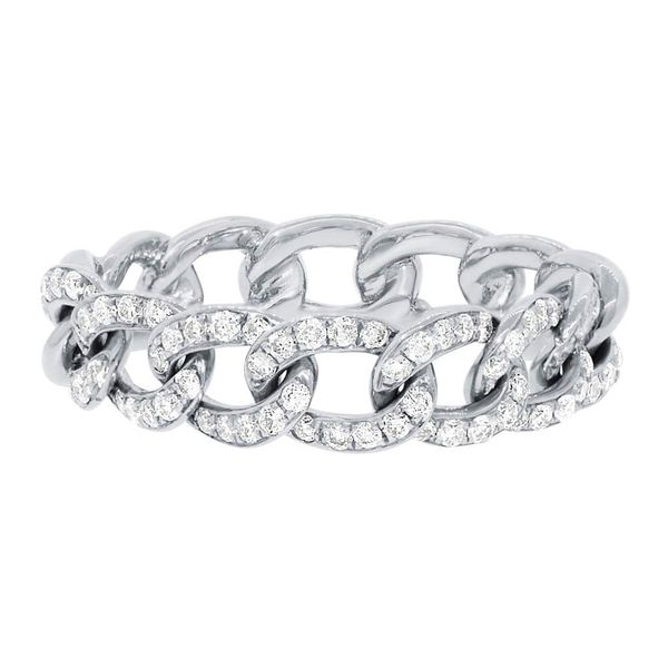 14K White Gold And Diamond Chain Ring, Size 7 Image 2  ,