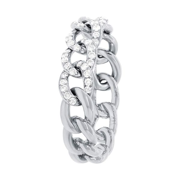14K White Gold And Diamond Chain Ring, Size 7 Image 3  ,