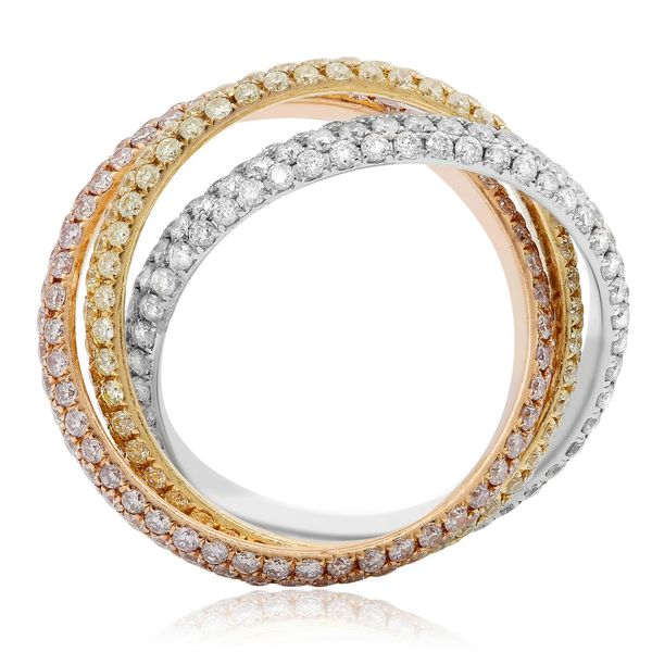 18K Tri-Colored Interlocking Diamond Ring Image 2  ,