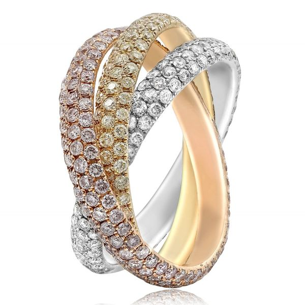 18K Tri-Colored Interlocking Diamond Ring Image 3  ,