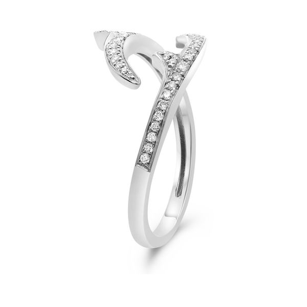 White Gold Diamond Pave Bypass Ring Image 3  ,