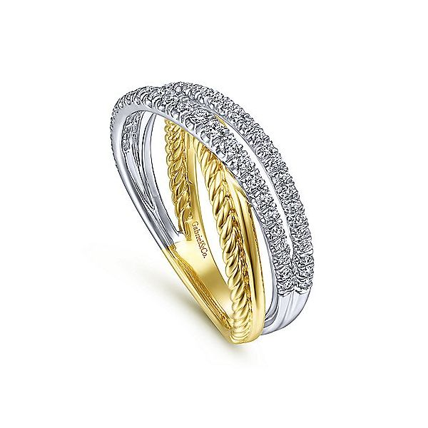 Gabriel & Co. Yellow-White Gold Diamond Fashion Ring Image 3 SVS Fine Jewelry Oceanside, NY