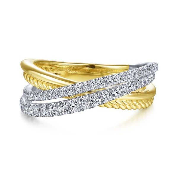 Gabriel & Co. Yellow-White Gold Diamond Fashion Ring SVS Fine Jewelry Oceanside, NY