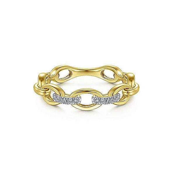 Gabriel & Co. Contemporary Yellow Gold Diamond Ring SVS Fine Jewelry Oceanside, NY