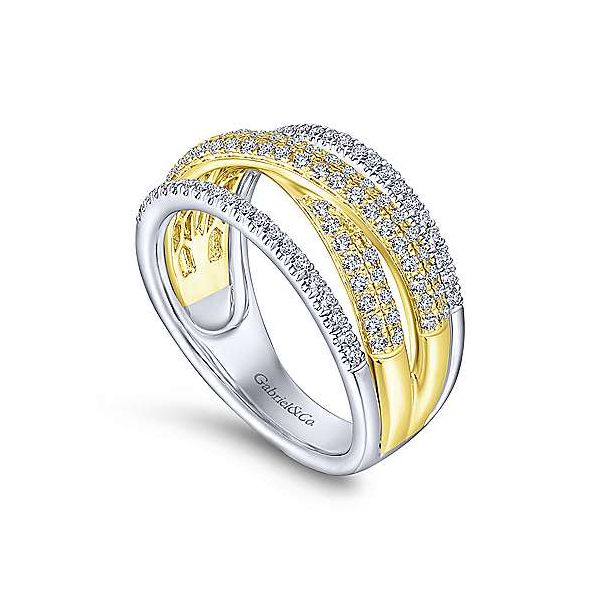 Gabriel & Co. Lusso 14K Yellow & White Gold Twisted Ring Image 2 SVS Fine Jewelry Oceanside, NY