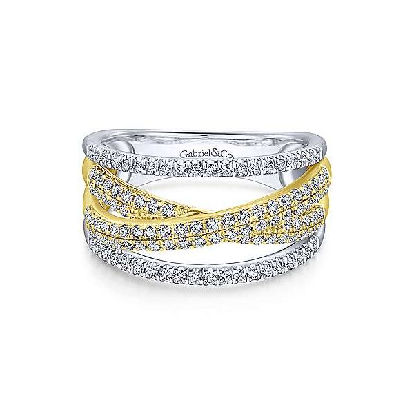 Gabriel & Co. Lusso 14K Yellow & White Gold Twisted Ring SVS Fine Jewelry Oceanside, NY