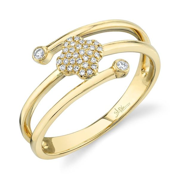 Shy Creation 14K Yellow Gold And Diamond Clover Ring SVS Fine Jewelry Oceanside, NY