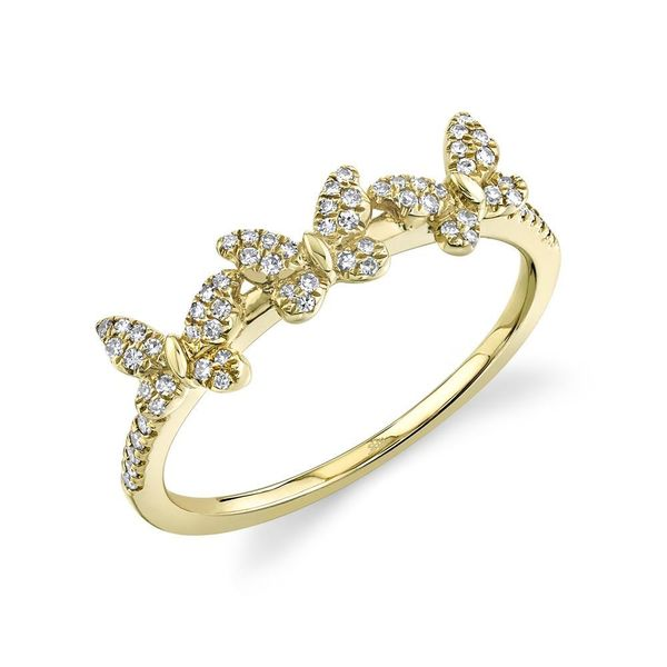 Shy Creation 14K Yellow Gold And Diamond Butterfly Ring SVS Fine Jewelry Oceanside, NY