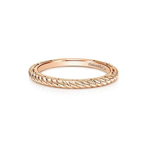 Gabriel & Co. Stackable 14K Rose Gold Twisted Rope Ring SVS Fine Jewelry Oceanside, NY