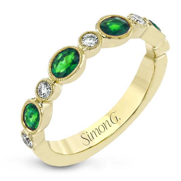 Simon G. 18K Yellow Gold, Diamond, And Emerald Ring SVS Fine Jewelry Oceanside, NY
