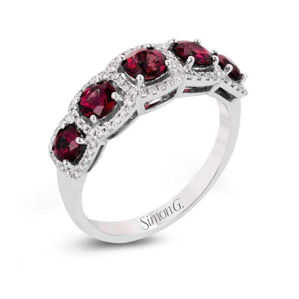 Simon G. 18K White Gold, Diamond, And Ruby Ring SVS Fine Jewelry Oceanside, NY