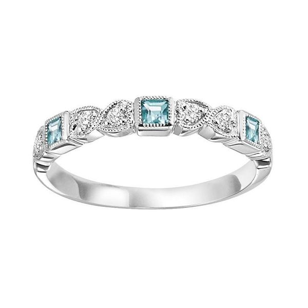 White Gold Stackable Bezel Blue Topaz Band SVS Fine Jewelry Oceanside, NY