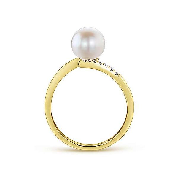 Gabriel & Co. Grace 14K Yellow Gold Pearl & Diamond Ring Image 2 SVS Fine Jewelry Oceanside, NY