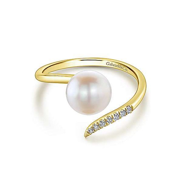 Gabriel & Co. Grace 14K Yellow Gold Pearl & Diamond Ring SVS Fine Jewelry Oceanside, NY