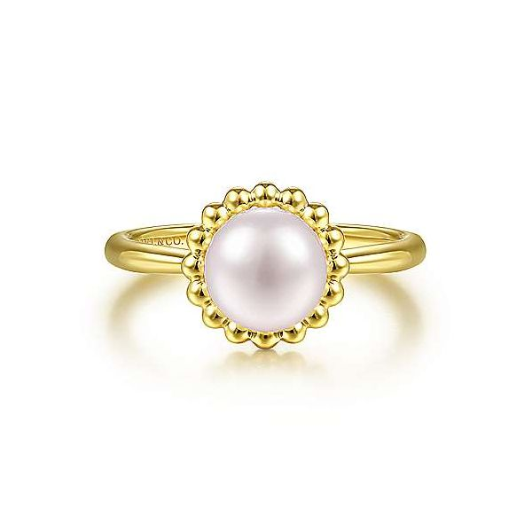 Gabriel & Co. Bujukan 14K Yellow Gold Cultured Pearl Ring SVS Fine Jewelry Oceanside, NY