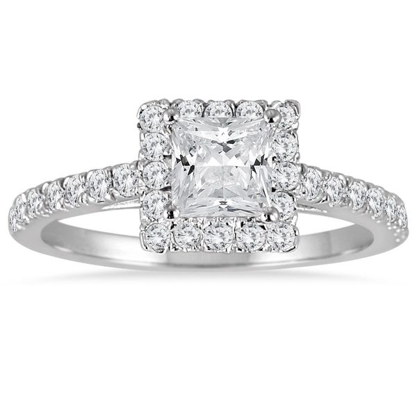 14K White Gold Princess Halo Diamond Engagement Ring SVS Fine Jewelry Oceanside, NY