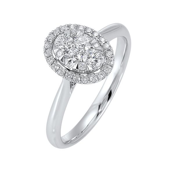 Diamond Oval Halo Cluster Ring SVS Fine Jewelry Oceanside, NY