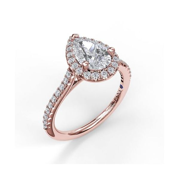 Fana 14K Rose Gold Halo Engagement Ring SVS Fine Jewelry Oceanside, NY