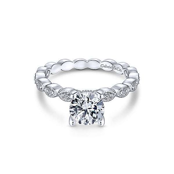 Gabriel & Co. Lula 14K White Gold Engagement Ring SVS Fine Jewelry Oceanside, NY