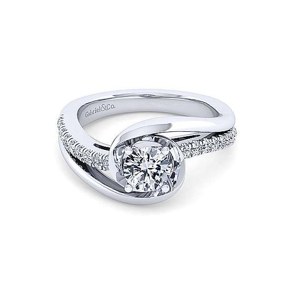 Gabriel & Co. Lucca 14K White Gold Engagement Ring SVS Fine Jewelry Oceanside, NY