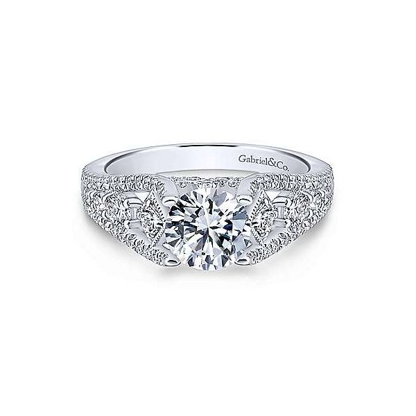 Gabriel & Co. Myrtle 14K White Gold Engagement Ring SVS Fine Jewelry Oceanside, NY