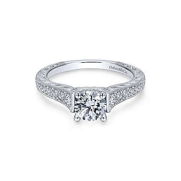 Gabriel & Co. Abigail 14K White Gold Engagement Ring SVS Fine Jewelry Oceanside, NY