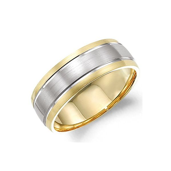 Crown Ring Men's 14K Yellow & White Gold Wedding Band SVS Fine Jewelry Oceanside, NY