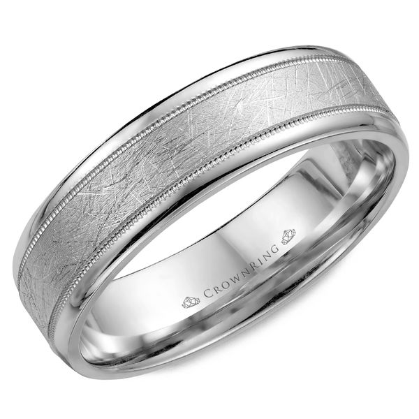 Crown Ring Men's 14K White Gold Wedding Band SVS Fine Jewelry Oceanside, NY