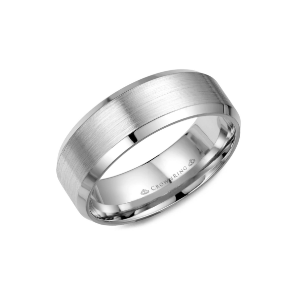Crown Ring Men's 14K White Gold 8 mm Wedding Band SVS Fine Jewelry Oceanside, NY