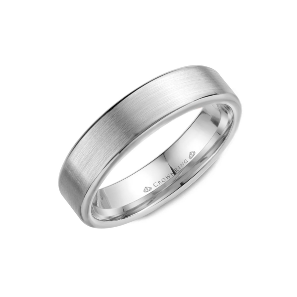 Crown Ring Men's 14K White Gold 5.5 mm Wedding Band SVS Fine Jewelry Oceanside, NY