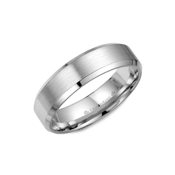 Crown Ring Men's 14K White Gold 6 mm Wedding Band SVS Fine Jewelry Oceanside, NY