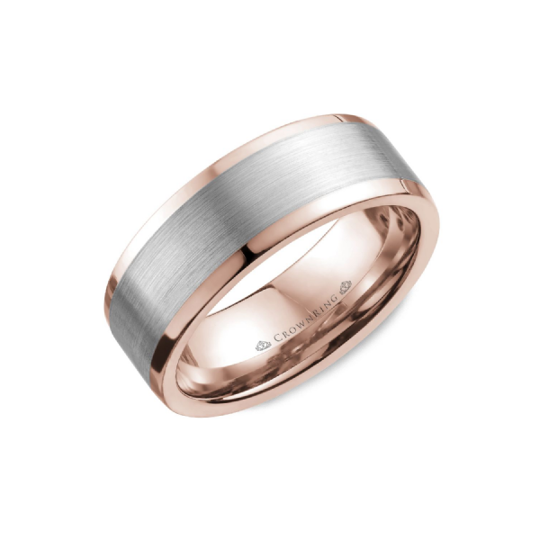 Crown Ring Men's 14K White & Rose Gold Wedding Band SVS Fine Jewelry Oceanside, NY
