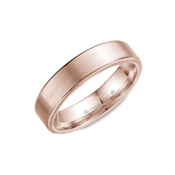 Crown Ring Men's 14K Rose Gold 5.5 mm Wedding Band SVS Fine Jewelry Oceanside, NY